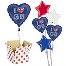 "I Love GB | Great Britain | Union Jack 18"" Balloon in a Box"
