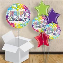 "Rainbow Confetti Happy Birthday 18"" Balloon in a Box"