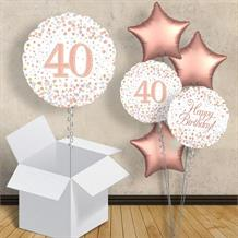 "Rose Gold and White 40th Birthday 18"" Balloon in a Box"