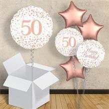 "Rose Gold and White 50th Birthday 18"" Balloon in a Box"