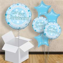 "Blue On Your Christening 18"" Balloon in a Box"