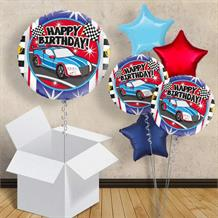 "Racing Car Happy Birthday 18"" Balloon in a Box"