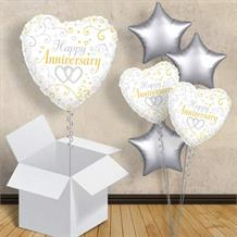 "Happy Anniversary Linked Heart 18"" Balloon in a Box"