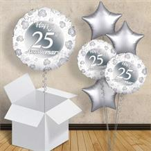 "Happy 25th Anniversary Silver 18"" Balloon in a Box"