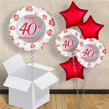 "Happy 40th Anniversary Ruby 18"" Balloon in a Box"