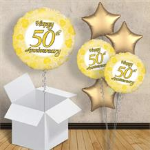 "Happy 50th Anniversary Gold 18"" Balloon in a Box"
