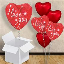 "I Love You Sparkle Red Heart 18"" Balloon in a Box"
