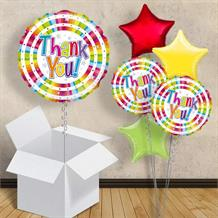 "Thank You Bright Holographic Stripes 18"" Balloon in a Box"
