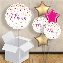 "Best Mum Pink and Gold 18"" Balloon in a Box"