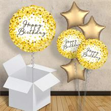 "Gold Confetti Happy Birthday 18"" Balloon in a Box"