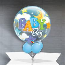 "Baby Boy Moon and Stars Baby Shower 22"" Bubble Balloon in a Box"