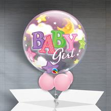 "Baby Girl Moon and Stars Baby Shower 22"" Bubble Balloon in a Box"