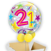 "Colourful Stars 21st Birthday 22"" Bubble Balloon in a Box"