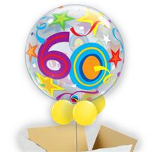 "Colourful Stars 60th Birthday 22"" Bubble Balloon in a Box"
