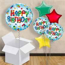 "Building Block Happy Birthday 18"" Balloon in a Box"
