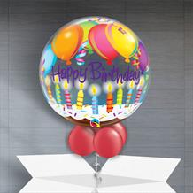 "Happy Birthday Balloons and Candles 22"" Bubble Balloon in a Box"