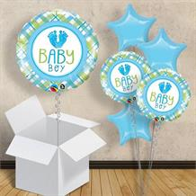 "Baby Boy Blue Foot | Baby Shower 18"" Balloon in a Box"