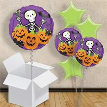 "Skeleton and Pumpkins | Halloween 18"" Balloon in a Box"