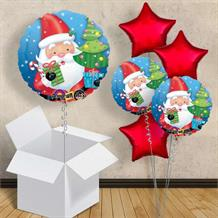 "Santa and Christmas Tree 18"" Balloon in a Box"
