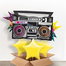 1980's Rad Boombox Giant Shaped Balloon in a Box Gift