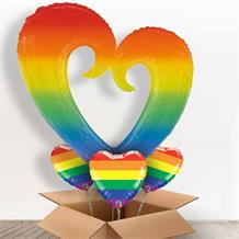 Rainbow Open Heart Giant Shaped Balloon in a Box Gift