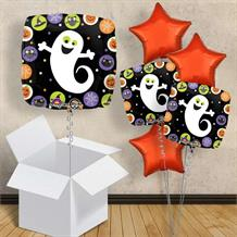 "Halloween Ghost with Circles 18"" Balloon in a Box"