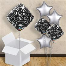 "Black and Silver Diamond Birthday Girl 18"" Balloon in a Box"