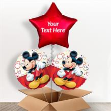 Personalisable Inflated Mickey Mouse Red 3 Balloon Bouquet in a Box Gift