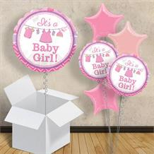 "It's a Girl Clothesline | Baby Shower 18"" Balloon in a Box"