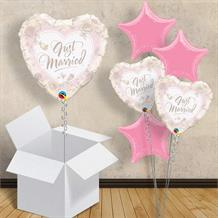 "Just Married Roses Heart | Wedding 18"" Balloon in a Box"