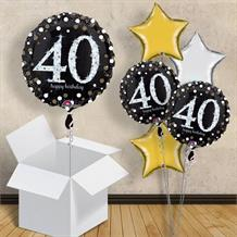 "Gold Sparkle Happy 40th Birthday 18"" Balloon in a Box"
