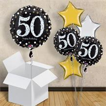 "Gold Sparkle Happy 50th Birthday 18"" Balloon in a Box"