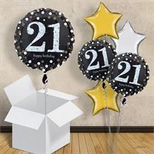 "Gold Sparkle Happy 21st Birthday 18"" Balloon in a Box"