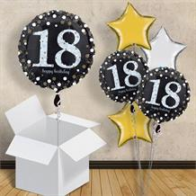 "Gold Sparkle Happy 18th Birthday 18"" Balloon in a Box"