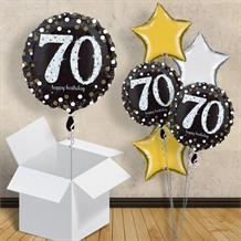 "Gold Sparkle Happy 70th Birthday 18"" Balloon in a Box"