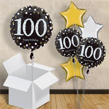 "Gold Sparkle Happy 100th Birthday 18"" Balloon in a Box"