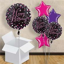 "Pink Sparkle Happy Birthday 18"" Balloon in a Box"