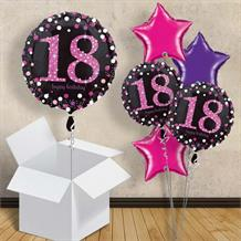 "Pink Sparkle Happy 18th Birthday 18"" Balloon in a Box"