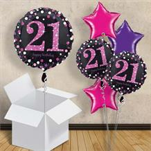 "Pink Sparkle Happy 21st Birthday 18"" Balloon in a Box"