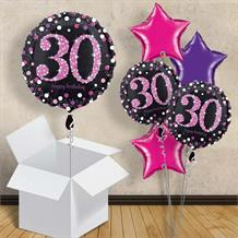"Pink Sparkle Happy 30th Birthday 18"" Balloon in a Box"