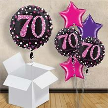 "Pink Sparkle Happy 70th Birthday 18"" Balloon in a Box"