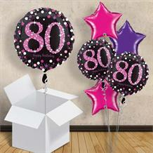 "Pink Sparkle Happy 80th Birthday 18"" Balloon in a Box"