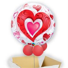 "Love | Red Hearts 22"" Bubble Balloon in a Box"