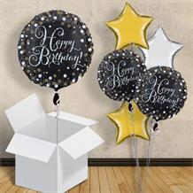 "Gold Sparkle Happy Birthday 18"" Balloon in a Box"