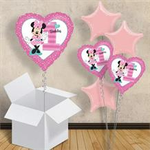 "Minnie Mouse Heart 1st Birthday 18"" Balloon in a Box"
