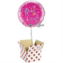 "Holographic Welcome Baby Girl | Baby Shower 18"" Balloon in a Box"