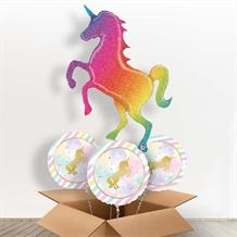 Rainbow Unicorn Holographic Glitter Giant Shaped Balloon in a Box Gift