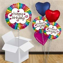 "Happy Birthday Rainbow Heart 18"" Balloon in a Box"