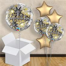 "Silver and Gold Stars Congratulations 18"" Balloon in a Box"