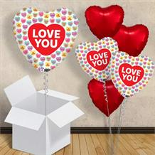 "Love You | Love Hearts | Sweets 18"" Balloon in a Box"